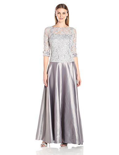 JS Collection Women's Combination Lace Dress with Top Drop Waist Into Skirt, Silver, 4