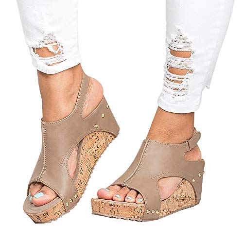 (Athlefit Women's Cutout Belt Wedges Sandals Platform Faux Leather Cork High Heels Size 7.5 Tan)