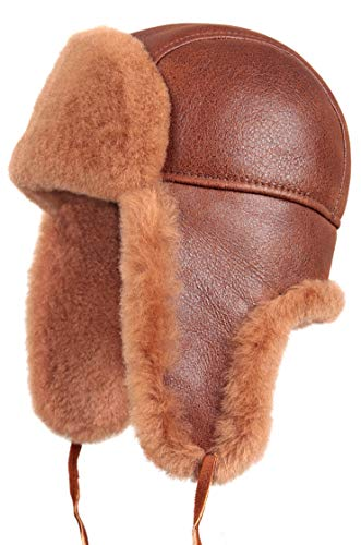 c333b61a834 Zavelio Shearling Sheepskin Leather Aviator Russian Ushanka Trapper Winter  Fur Hat
