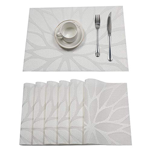 HEBE Placemats Set of 6, Non-Slip Washable Place Mats,Heat Resistant Kitchen Tablemats for Dining Table Dinner Table (White)