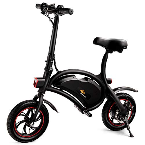 - S AFSTAR Safstar Folding Electric Bicycle Lightweight and Aluminum E-Bike 20 mph 12 Mile Range Electric Bike with 350W Powerful Motor and 36V 6Ah Lithium Battery (Black)