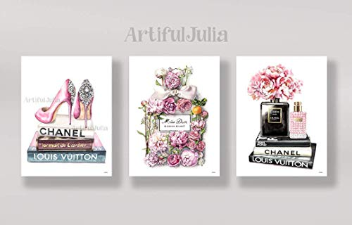 Chanel artwork prints for wall art of watercolor painting, 3 prints of 5