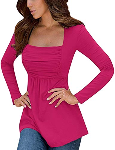 Yesfashion Womens Square Neck Ruched Tops Empire Waist Tunics Long Sleeve Rose Red -
