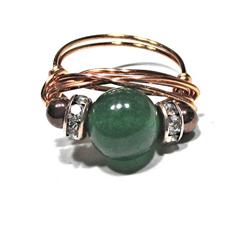 Green Jade Gemstone Solitaire Artisan Copper Wire Wrapped Ring All Sizes
