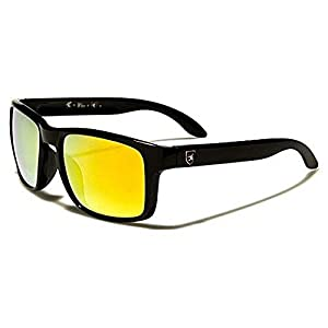 Khan New 2014 Kid's Retro Vintage Colorful Wayfarer Sunglasses (Black Yellow Lens)