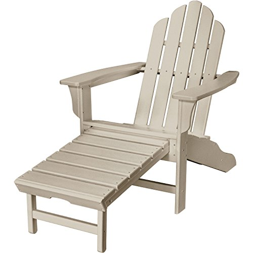 Hanover Outdoor All-Weather Contoured Adirondack Chair with Hideaway Ottoman, Sandy Shore