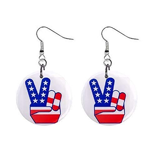 American Flag Peace Sign Fingers Dangle Earrings Jewelry 1 inch Buttons - Buttons Flag Sign Peace