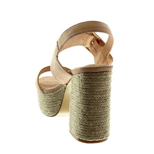 Angkorly Zapatillas Moda Sandalias Mules Correa de Tobillo Plataforma Mujer Cuerda Tanga Hebilla Tacón Ancho Alto 11 cm rosa pálido