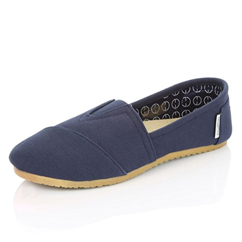 DailyShoes Women's Classic Flats Memory Foam Cushioned Elastic Gore Soft Canvas Daily Slip-On Comfort Loafer Casual Sneaker Flat Shoes, Navy Linen, 10 B(M) US