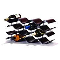 Oenophilia Bali Wine Rack, ébano - 12 botellas, madera maciza, elegante y moderno Wine Rack, almacenamiento de vino de mesa (010200)
