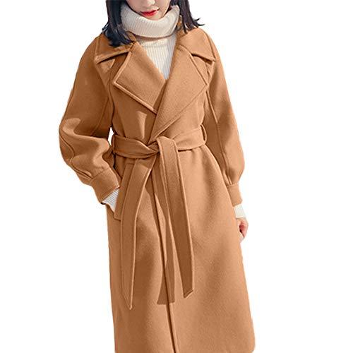 for Women Winter Lapel Wool Trench Jacket Long Sleeve Overcoat ()