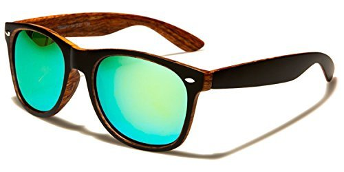Retro negro Size lentes Protección Reflectante naranja VIBRANT INCLUIDO Madera Clásico Gafas green light UV400 De madera Sol Conducción Cabaña Bolsa GRATIS Deporte One Unisex COMPLETO Estampado U8g4xg