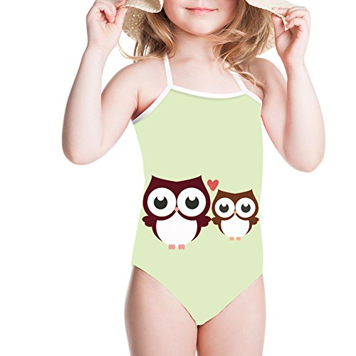 Owl Printed Baby Girls Swimsuit One Piece Halter Bathing Suit 3-8Y (owl Couple, 7-8T) by Ertyz