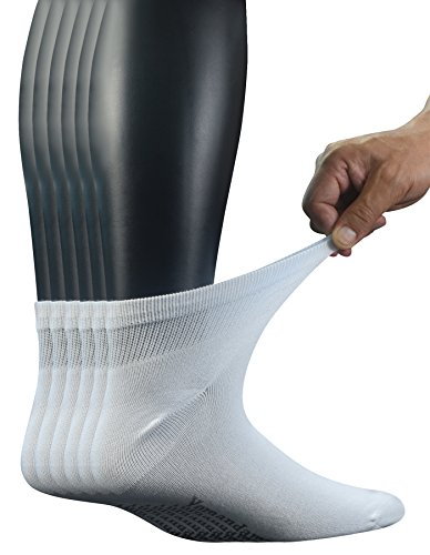 Yomandamor Men's Bamboo Diabetic Ankle Socks with Seamless Toe and Non-Binding Top,6 Pairs L Size(10-13) -