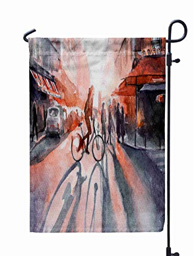 Shorping Welcome Garden Flag, 12x18Inch Dawn in The City Cyclist Watercolor Lights Sun for Holiday and Seasonal Double-Sided Printing Yards -