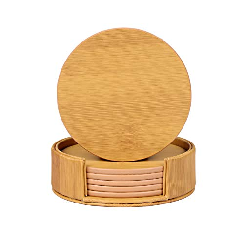 Coasters for Drinks 6-Piece Leather Coasters with Holder,Bamboo Grain Round Cup Mat Pad for Home and Kitchen Use