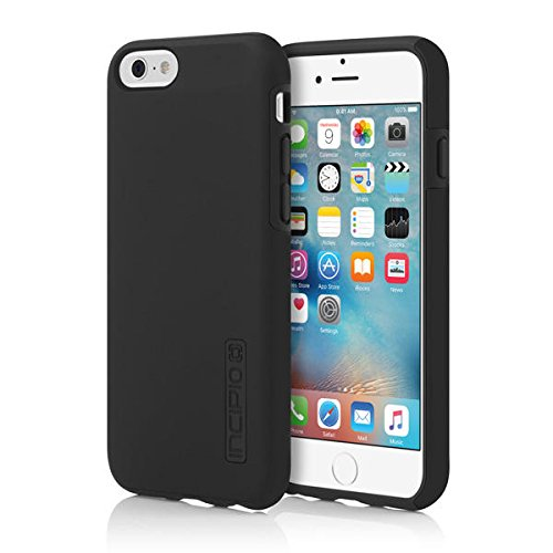 Incipio IPH-1179-BLK iPhone 6S Case, DualPro Case [Shock Absorbing] Cover fits both Apple iPhone 6, iPhone 6S – Black/Black