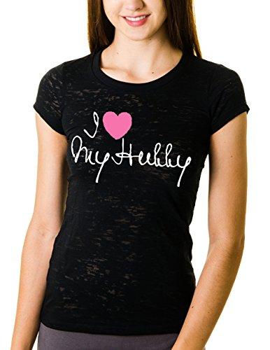 I Love My Hubby Burnout Tunic T-shirt (Small, Black)
