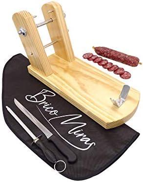 Jamonero Modelo Rioja Color Natural de Madera de primera calidad, ideal para uso doméstico y profesional, incluye barra salchichón, cubrejamón negro, cuchillo y chaira