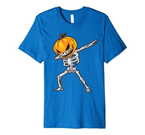 Skeleton Dabbing T Shirt Halloween Scary Pumpkin Head Face