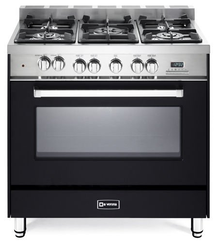 Verona VEFSGE365NE 36' Dual Fuel Range Oven Sealed Burners Convection Storage Drawer Matte Black