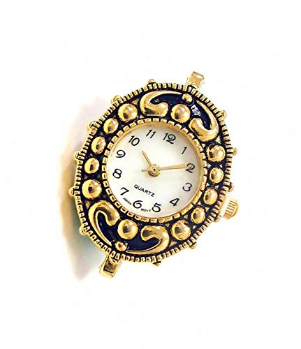 Linpeng Watch Face For Crafts, Beading Jewelry Making / 23x30mm / Antique Gold Oval Frame / Geneva Style / Japan Movement / Battery Included / 1pc