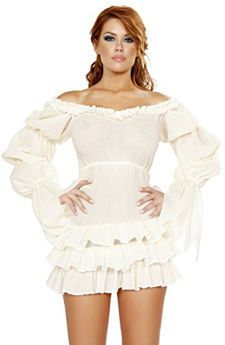 Ruffled Pirate Dress Adult Costume White - Medium