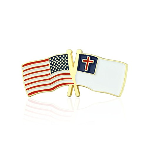 GS-JJ American and Christian Crossed Friendship Flag Enamel Lapel Pin (1 Piece)