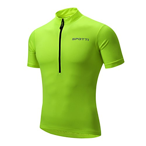 Spotti Basics Men's Short Sleeve Cycling Jersey - Bike Biking Shirt (Yellow, Chest 44-46