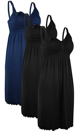 iLoveSIA 3PCS Women's Maternity Breastfeeding Dress Nursing Nightgown Black+Black+Blue Size 3XL