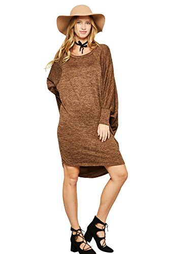 Tabeez Women's Hacci-Knit Loose Cocoon Dress with High-Low Rounded Back Hem (.