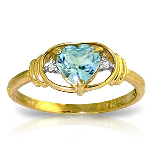 Galaxy Gold 0.96 CTW 14k Solid Gold Ring with Natural Diamonds and Heart-shaped Blue Topaz - Size 7.5 - Diamond Shaped Gemstone Ring