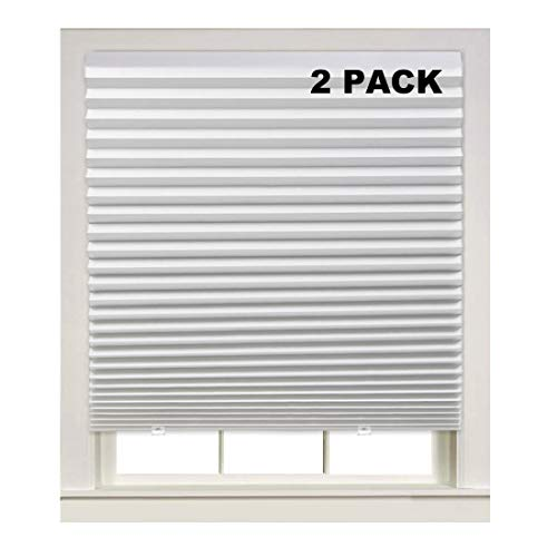 """Turquoize Light Filtering Temporary Pleat Paper Shades White, Quick Fix & Easy to Install, 48"""" x 72"""", 2-Packs, with 4 Clips"""