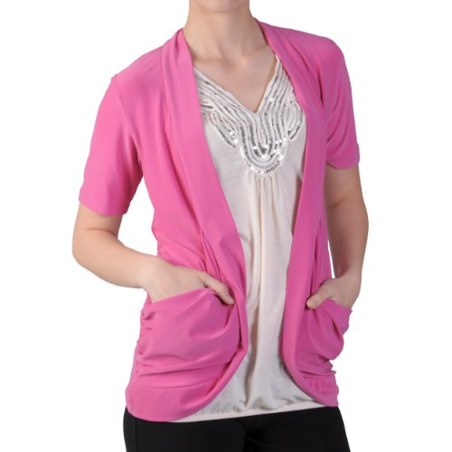 Brinley Co Womens Stretchy Open Front Short-sleeve Cardigan