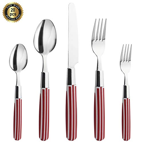 Hoften 20 Piece Silverware Set, Red and White Handle Stainless Steel Flatware Set Include Fork Spoon Knife Utensils for Daily Use and Party, Cutlery Set Service for 4, Safe in - Red Set Flatware
