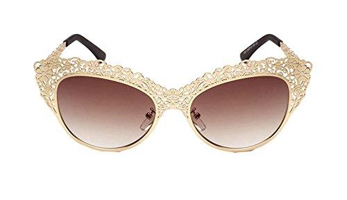 Pacyer® Designer Damen Barock Metall Blume Durchbohrt Schnitzen Sonnenbrille Oversize Clubma Aviator Brillen Clubmaster (Gold / Kaffee)