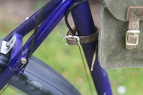 Satchel Tasche für Fahrrad Rahmen Echt Wildleder Leder grün oliv