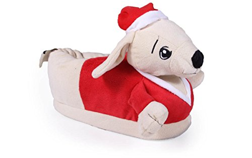 Happy Feet 50+ Styles - Premium Full Foot Mens and Womens Animal Slippers Dog - Santa Paws