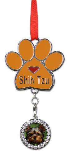 Shih Tzus Christmas Ornament - I Love My Shih Tzus Pawprint with a Photo Charm - Dog Christmas Ornament (Paw Tzu Prints Shih)