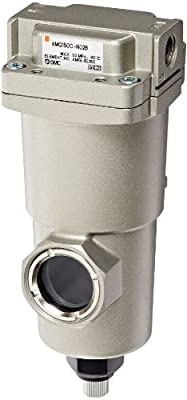 "SMC AMG150C-N02B Water Separator, Manual Drain, 300 L/min, 1/4"" NPT, Mounting Bracket"