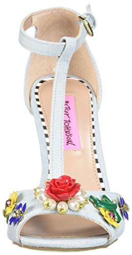 Betsey Johnson Mujeres Lenox Heeled Sandal Denim Fabric
