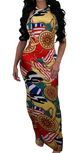 Coolred-femmes Sans Dossier Imprimé Sans Manches Licol Moulante Sexy Robe Longue Pattern2