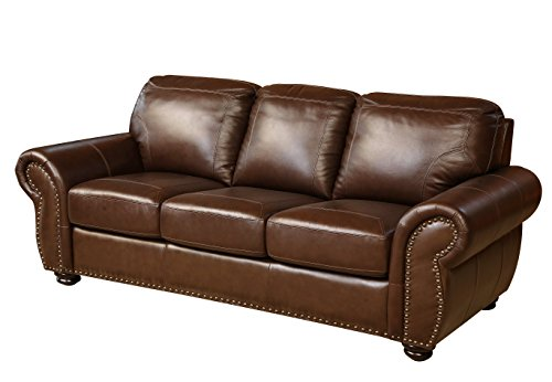 abbyson reese top grain leather sofa