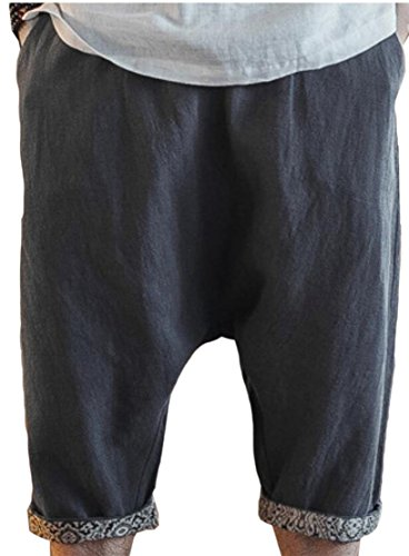 WSPLYSPJY Mens Summer Pure Color Personalized Swap File Cropped Grey XS