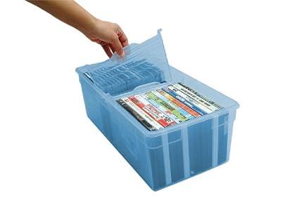 IRIS Media Divided Storage Box, Trans Blue, Set Of 2