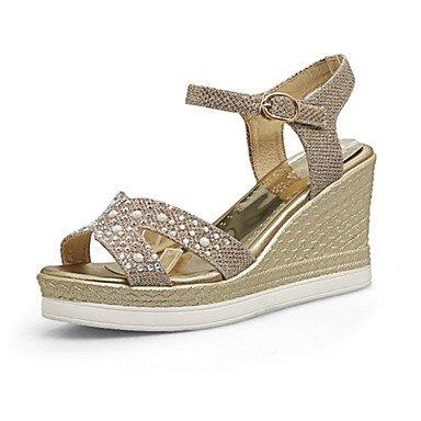 Informal Mujer Boda Zapatos Gold club Otro Cuña Personalizados Sandalias Innovador Tacón Negro Purpurina Semicuero del Vestido Materiales LvYuan vHIzwTqdv