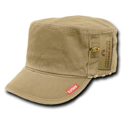 Rapid Dom Military Fatigue Cadet Flat Top Caps 35B (Khaki, (Vintage Khaki Fatigue Cap)