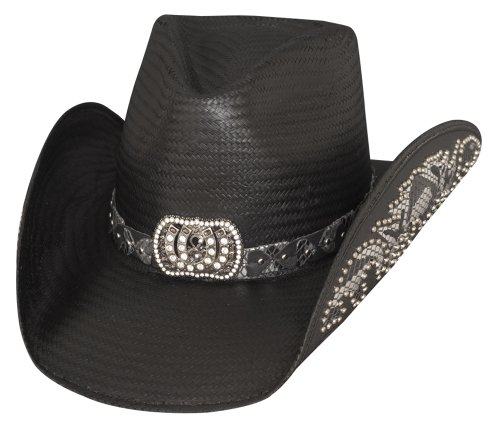 Bullhide Montecarlo Cowgirl Fantasy Shantung Panama Studded on Hatband & Brim Small Black