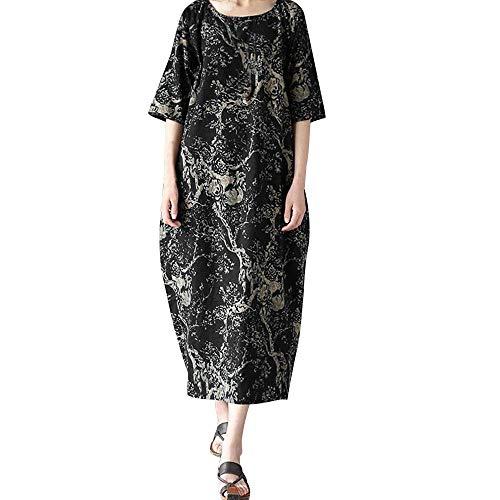 Datework Robe Longue Pour Les Femmes, L'impression De Grande Taille Robes Amples En Coton Col Rond Noir