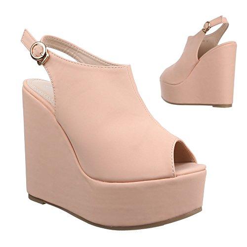 Ital-Design Damen Schuhe, B2907-SP, Pumps Keil Wedges Plateau Altrosa ...